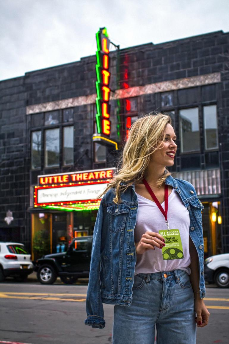 Sarah from the Pastiche in Front of the Little Theatre for the High Falls Film Festival