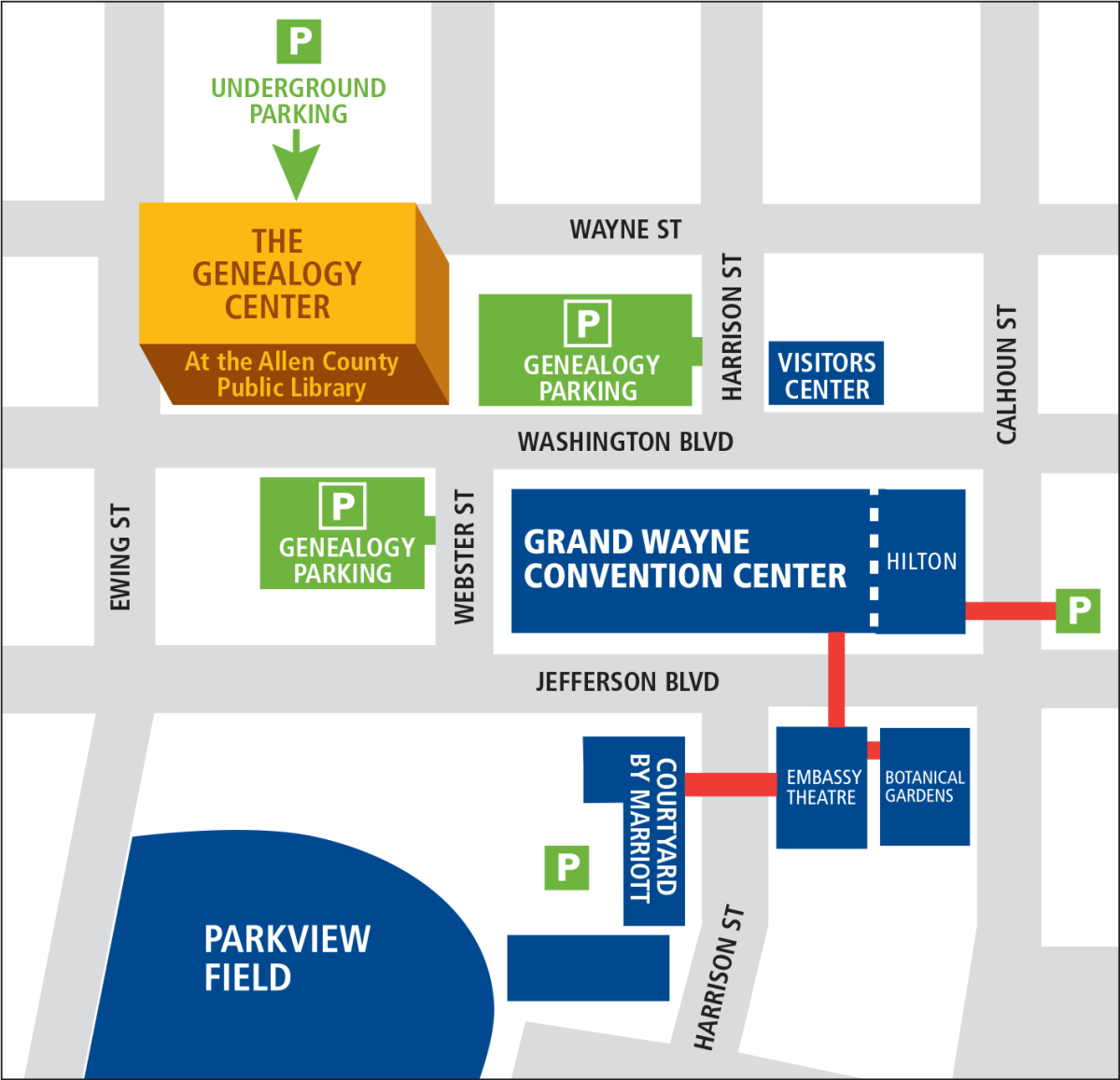 Map to the Genealogy Center