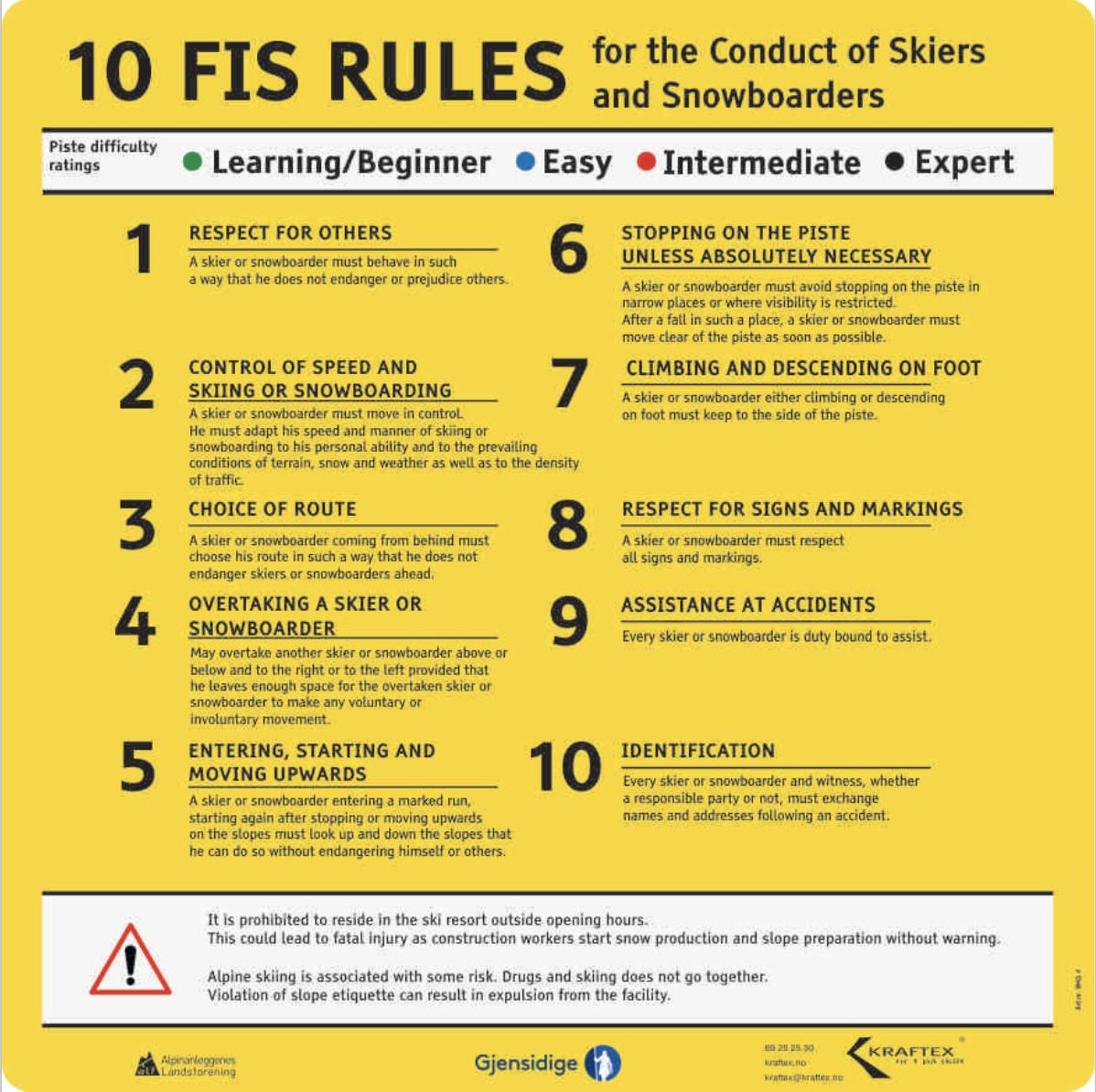 Rules of conduct for skiers and snowboarders