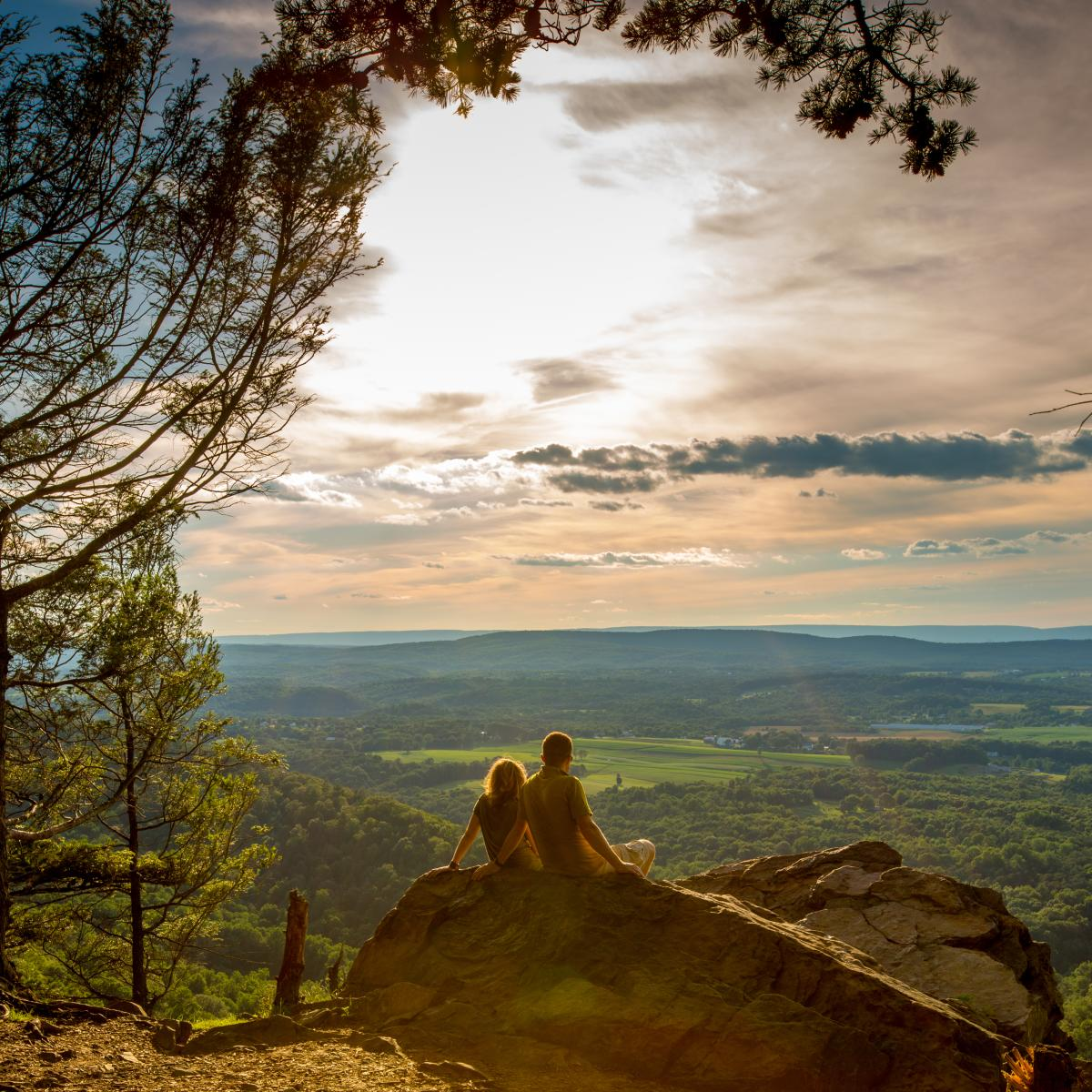 Couple at overlook at Hawk Rock on the Appalachian Trail Harrisburg, PA Area