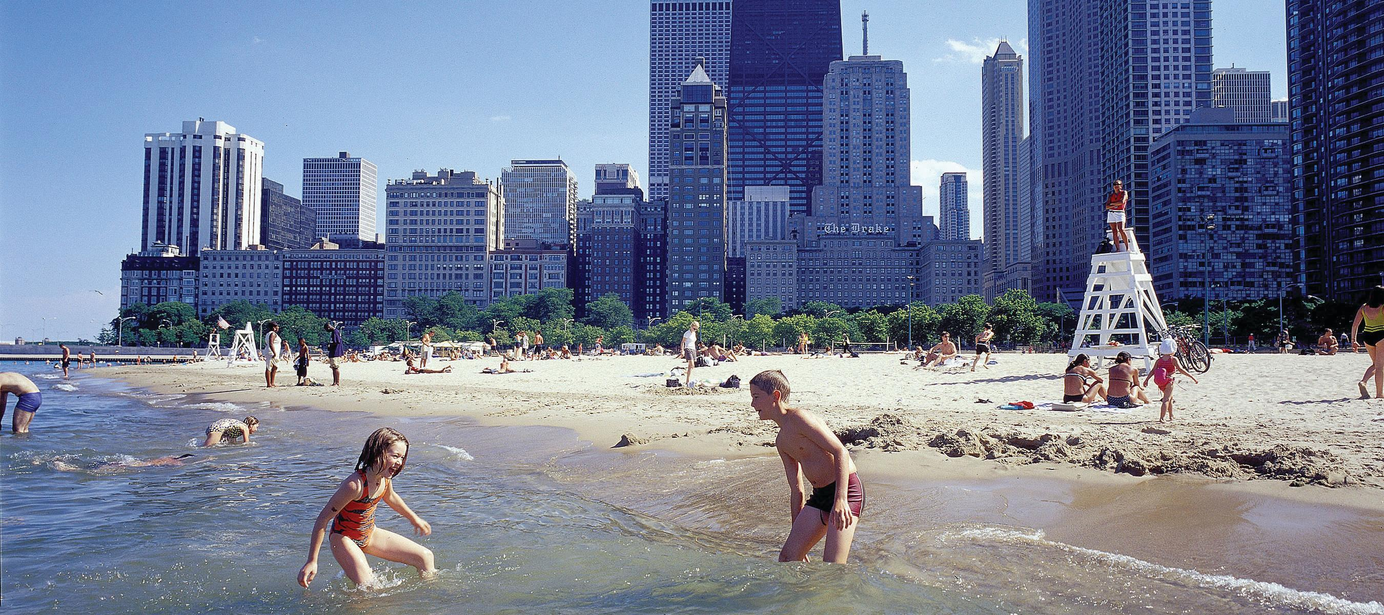Children playing at Oak Street Beach