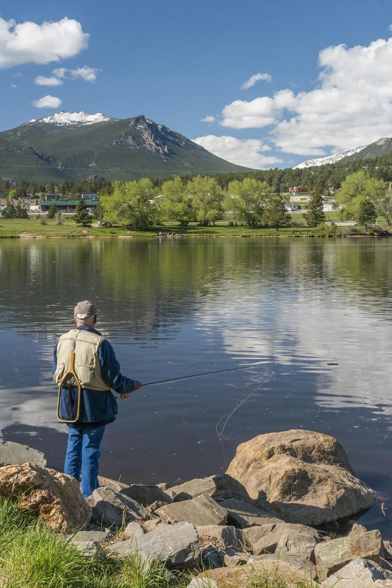 Man Fishing at Lake Estes