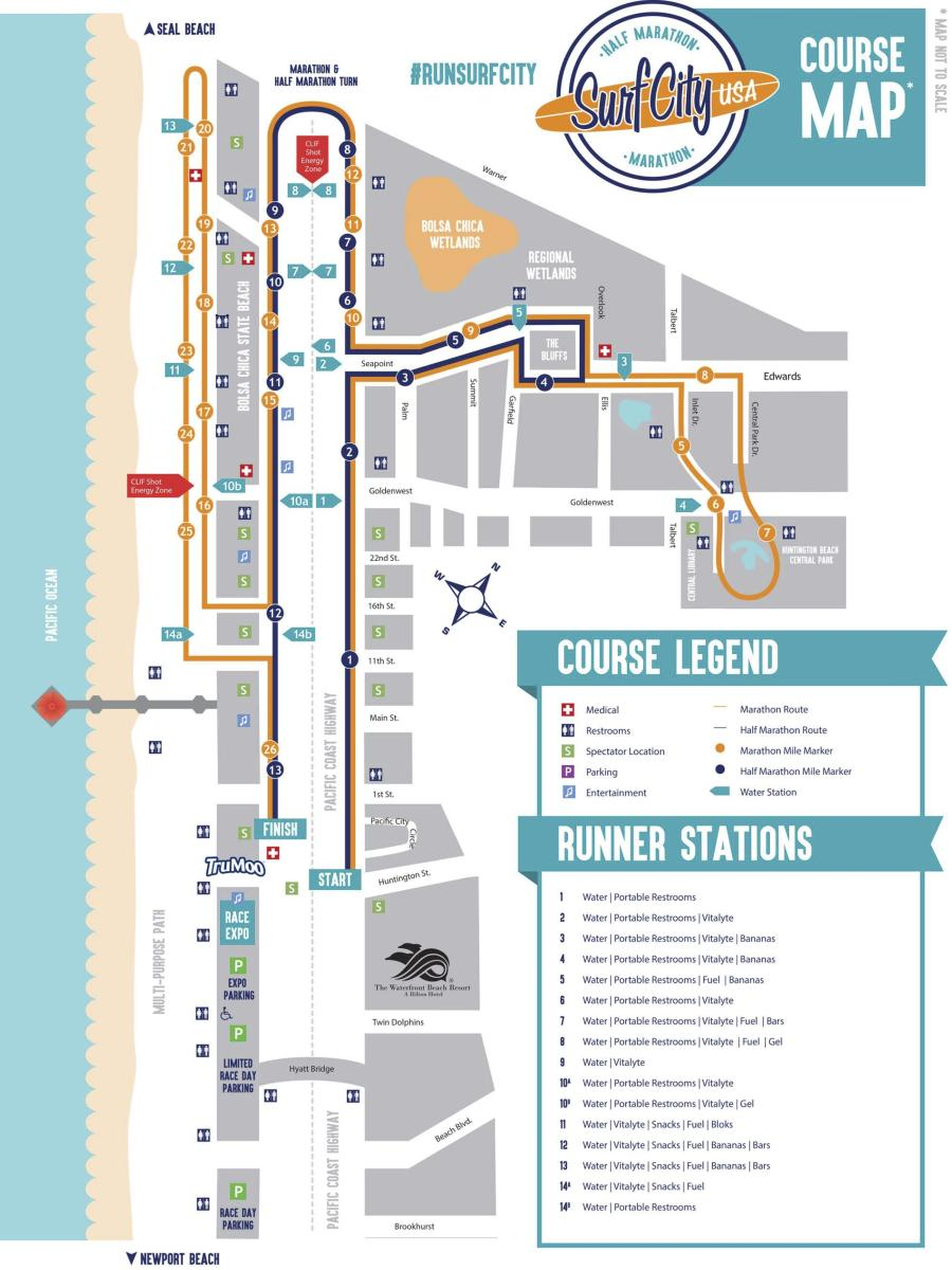 Huntington Beach Surf City Marathon Map