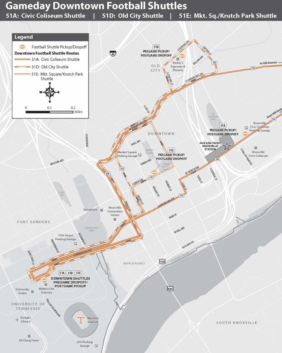 KAT Football Shuttles Map