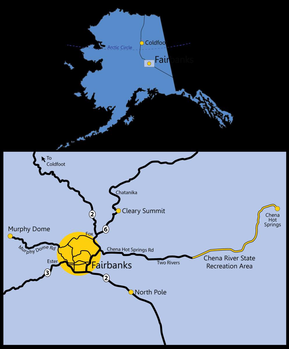 Aurora Viewing Locations near Fairbanks, Alaska