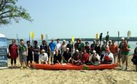 Water Trail partners gathered at Kingston Point Beach Announcement.