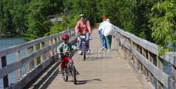 Family Biking on a Bridge