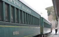 Ride the Santa Express Scenic Railroad around Mount Rainier