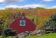 Indian Blanket Barn: The barn quilt representing New York is from a design that hangs on Jack Clark's barn in Sullivan County's Neversink area.