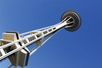 Space Needle shot from below at an angle