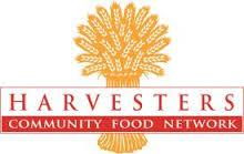 Wheat bundle behind the words Harvesters Community Food Network