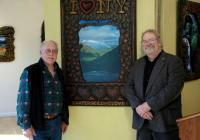 """Photographer Francis X. Driscoll (left) and folk artist Michael Lavery in front of their collaborative work """"I LOVE NY"""" at the Kaaterskill Fine Arts gallery in Hunter, N.Y."""