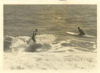 1966 Carolina Beach, NC, Joseph Skipper Funderburg surfing, Sonny Danner paddling, Funderburg