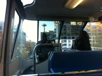 Monorail Ride in Seattle with Space Needle