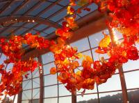 Glasshouse exhibit - Chihuly Garden and Glass in Seattle sunset