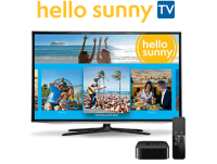 TV screen with Hello Sunny TV on display.
