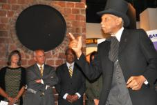 •African American storyteller and scholar Dr. David Anderson portrayed abolitionist Frederick Douglass to begin the event announcing a joint Underground Railroad tourism iniative. OPRHP Commissioner Rose Harvey, Congressman Paul Tonko, Markly Wilson of I LOVE NEW YORK, and Erie Canalway Executive Director Beth Sciumeca look on.