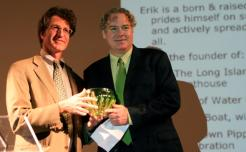 "New York City resident Erik Baard (right) has been named the 2011 ""Greenest NYer"" by I LOVE NEW YORK, New York State's tourism promotion agency. Baard is shown accepting his award in Brooklyn April 30 from Peter Davidson, Executive Director of Empire State Development."