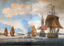 This painting shows a War of 1812 attack on Fort Ontario in Oswego, NY; courtesy of Fort Ontario State Historic State.