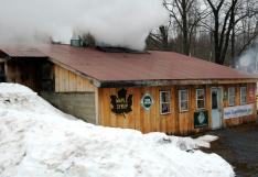 The sugarhouse at Toad Hill Farm in Athol, N.Y. This month New York is offering a sweet and sticky treat for visitors as 110 of its maple producers, including Toad Hill Farm, join together for the 16th Annual Maple Weekend (http://www.mapleweekend.com/).  Credit: Darren McGee, NYS Dept. of Economic Development
