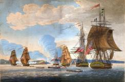 Battle of Oswego, May 6. 1814.  By William Steele.  Collection of Paul Lear.  This view depicts the British preparing for an amphibious assault on the beach at Fort Ontario.