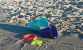 Bucket in sand