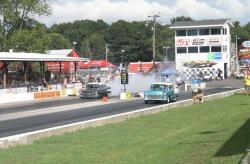 Tri-Fives on the drag strip