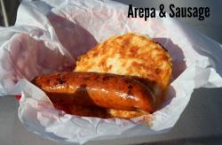 Arepas and Sausage in a Basket