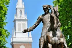 Paul Revere statue with St. Stephen's Catholic Church in the background