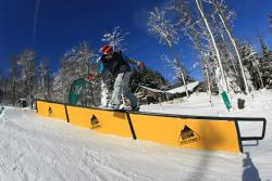 Snowboarding Tricks at Terrain Park, Seven Springs Mountain Resort in Laurel Highlands