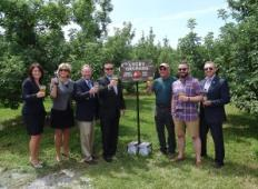 local officials toasting the relocation of Angry Orchard to Walden, N.Y.