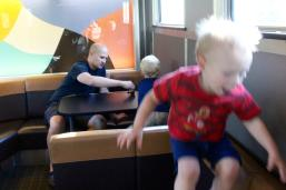 We turned the lounge car into a jungle gym