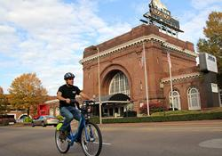 Biking in front of the Chattanooga Choo Choo