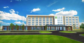Embassy Suites front rendering, looking east