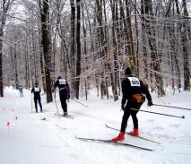 The Winona Forest Recreation Area contains more than 70 miles of multi-use trails in Oswego and Jefferson counties. The third annual Winona Forest Winterfest, featuring activities for all ages, takes place Saturday, Jan. 16. Pictured are skiers competing in the 2008 Winona Forest Tourathon.  (Photo courtesy Oswego County Tourism Office.)