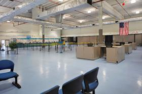 Photo of the U.S. Customs processing area in Cruise Terminal 1