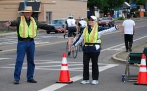 Sue Harshbarger helps out at the Oregon Gran Fondo cycling event