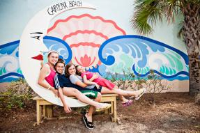 Carolina Beach Moon Mural with kids