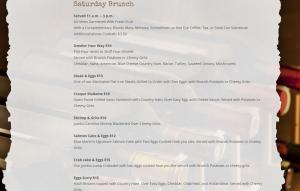 Dahlia Brunch Menu