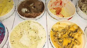 Ice cream flavours at Lake House in Wasagaming