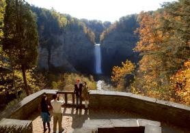 The 215 foot high Taughannock Falls, which is the middle of three falls, located in the gorge of Taughannock Falls State Park about 8 miles north of Ithaca. (Credit: NYS Office of Parks, Recreation and Historic Preservation)