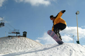 Snowboarding at Mystic Mountain at Nemacolin Woodlands Resort in Laurel Highlands