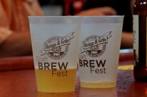 Picture of beer tasting cups at the Craft Brew Fest at the Shrimp & Grits Festival on Jekyll Island