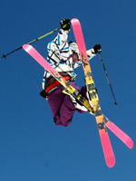 Skier doing a trick in the air