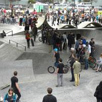 WJ Skatepark + Urban Plaza Crowd, Willamette Valley, Eugene, Oregon, by Jessica Chestnut