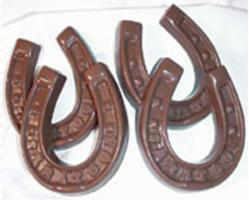 Four chocolate horseshoes from Saratoga Candy Co