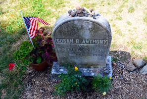 Susan B. Anthony's Grave stone at Mount Hope Cemetery