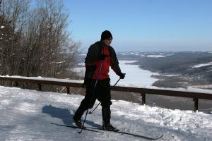 finger-lakes-harriet-hollister-state-park-honeoye-winter-solo-cross-country-skier-passing-overlook-blue-skies