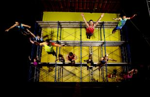 Streb Extreme Action Company performing off rafters.