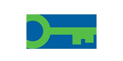Green key on blue background